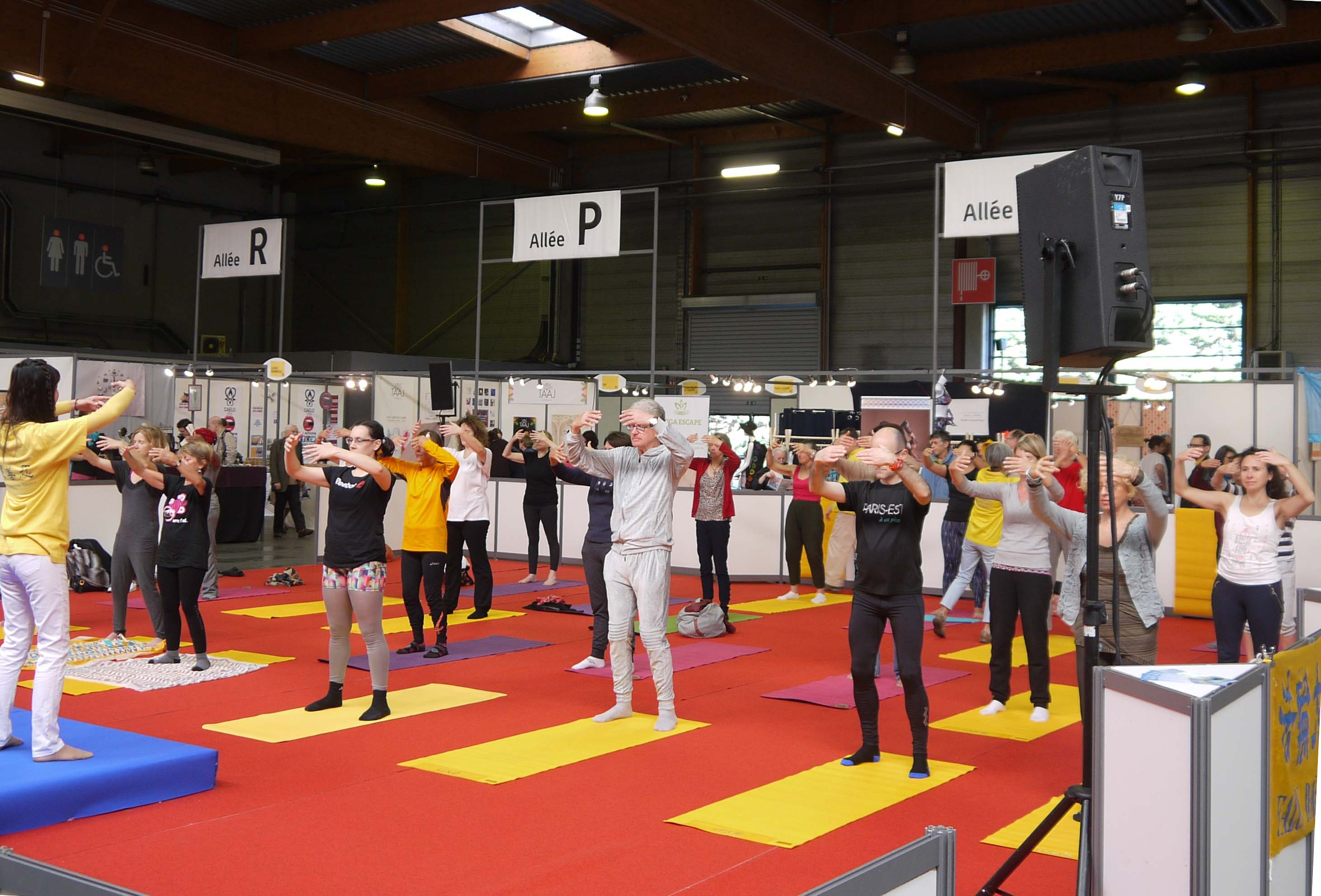 在2017年的巴黎瑜伽展示會開幕式上,法輪功學員介紹、演示、教煉法輪功功法。(明慧網)