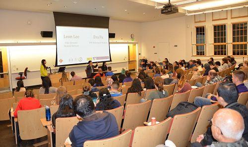 '图1:华盛顿大学西雅图分校举办获奖纪录片《活摘》的放映会'