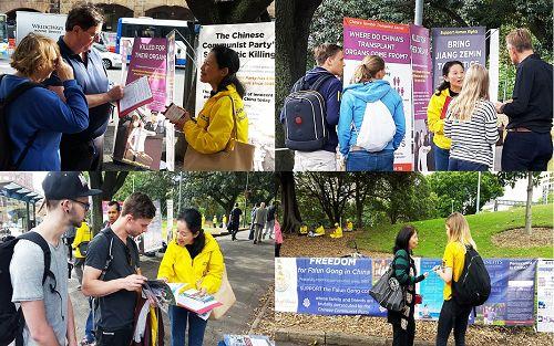 图2-4 :悉尼中央火车站对面的贝尔莫公园(Belmore Park),民众签名支持法轮功反迫害