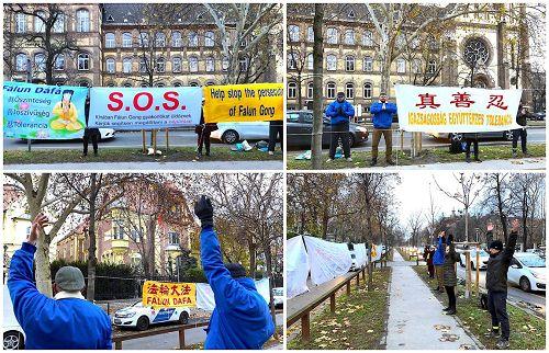 '匈牙利部份法轮功学员聚集在中国大使馆前和平抗议,要求停止在中国对法轮功的残酷迫害。'