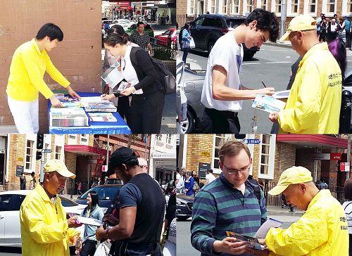 '图2:法轮功学员在博霍德(Burwood)市中心的主街上展示法轮功的五套功法和真相展板'