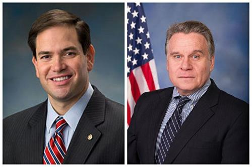 '图5:美国国会及行政当局中国委员会(CECC)主席——国会参议员马可·卢比奥(MarcoRubio,左)和众议员克里斯·史密斯(ChrisSmith,右)致信声援法轮功学员。'