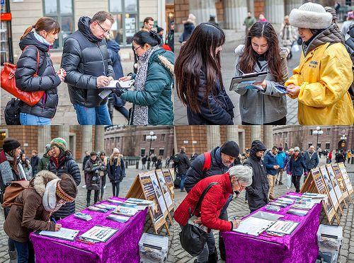 明白真相的人们主动在征签簿上签名,支持法轮功学员反迫害。