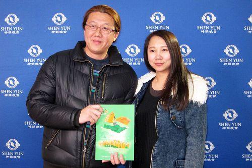 """'图5:三月二日晚间,环球科技大学视觉传达设计系助理教授刘怀帏(左)表示,""""看过神韵之后才觉得有活过,才不枉此生。""""'"""