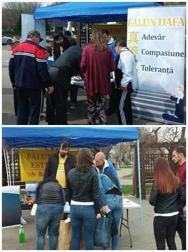'图2~3:罗马尼亚淳朴小城Alexandria的民众关注法轮功,签名支持反迫害'