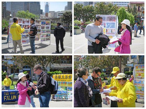 '图7~8:二零一七年四月二十二日和二十三日,旧金山湾区的法轮功学员在旧金山的中国城和多个公园和旅游景点,向当地民众和游客讲述法轮功的真相。'