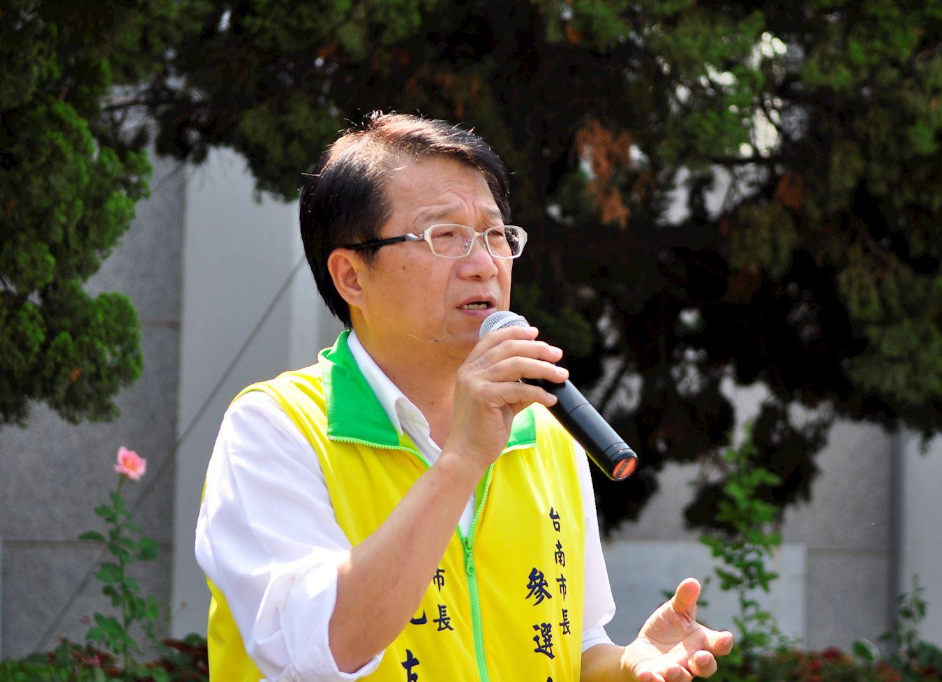 台南市前副市长颜纯左:在台湾各地举办513庆祝活动,意义深远。(明慧网)