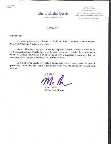 '图:佛罗里达州迈阿密的美国联邦参议员、美国国会中国问题常务委员会(Congressional-ExecutiveCommissiononChina)共同主席马可·鲁比奥(MarcoRubio)给佛罗里达法轮大法协会发来贺信'