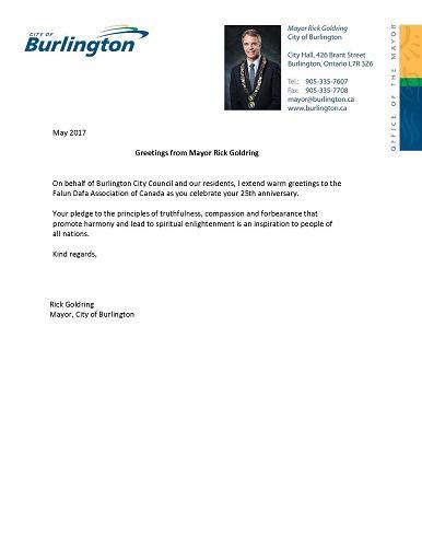 Burlington市市长Rick Goldring先生贺信