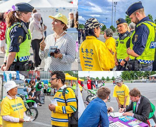 '图1~2,法轮功学员向前来参加政治周活动的瑞典所有党派主席、政府官员及地区部门、机构的各界人士面对面对讲真相。'