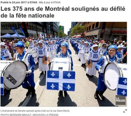 '图1:蒙特利尔最大的法文报《LA-PERSSE》头版刊登法轮<span class='voca' kid='53'>大法</span>天国乐团的照片,预告魁北克省庆日游行'