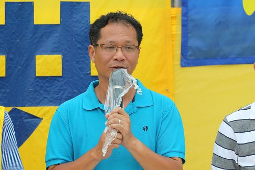 '图7:支联会副主席蔡耀昌出席集会上发言。'