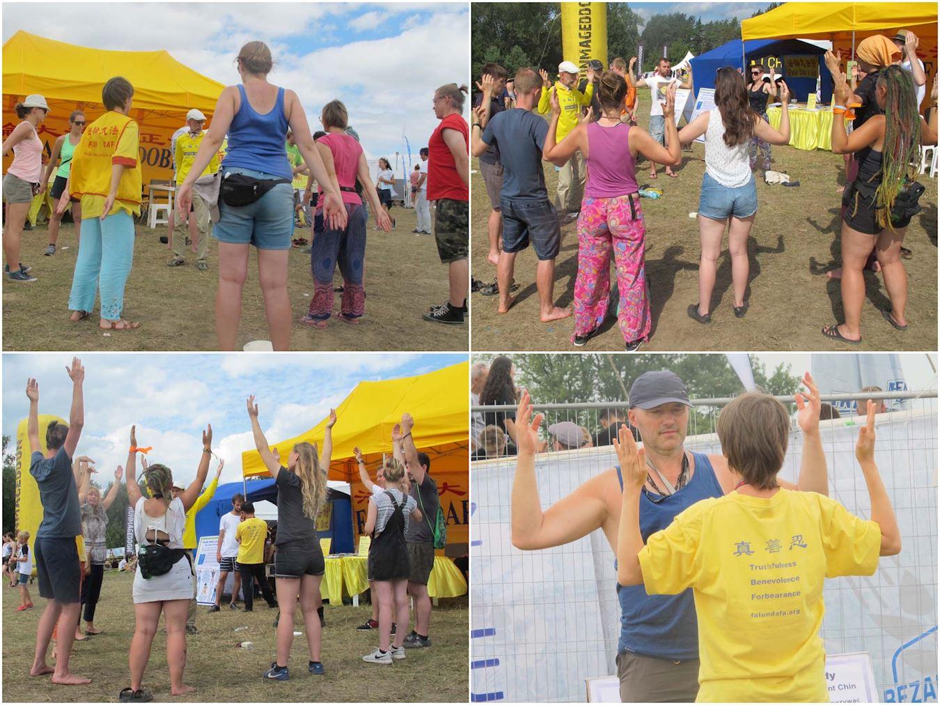 波蘭伍德斯托克音樂藝術節(Przystanek Woodstock)是每年在波蘭奧得河畔科斯琴市(Kostrzyna)舉辦的歐洲最大的露天音樂節,參加者多來自波蘭和歐洲的年輕人及專業藝術團體,人數每年都多達二三十萬。2017年8月3日至5日,歐洲部分法輪功學員在音樂節上設立法輪功真相展位,受到歡迎。不少人現場學煉法輪功,有的甚至連續三天前來煉功,有的留下地址要求訂購《轉法輪》。(明慧網)