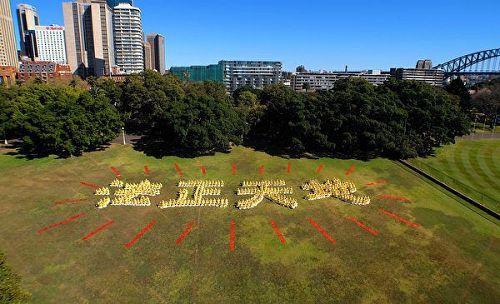 """'图2:澳洲法轮功学员排字""""法正天地""""。'"""