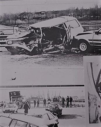 '图2:安(Ann?)还保留着三十多年前她遭遇车祸时场景的照片'