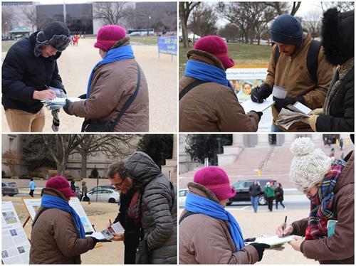 '图2~3:十二月三十一日,华府法轮功学员冒着严寒向游人们传递真相,送上新年的祝福。'