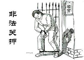 中共酷刑示意图:上大镣