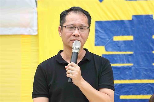 '图5:香港支联会副主席蔡耀昌在集会上发言。'