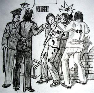 '中共酷刑示意图:殴打、撞头'