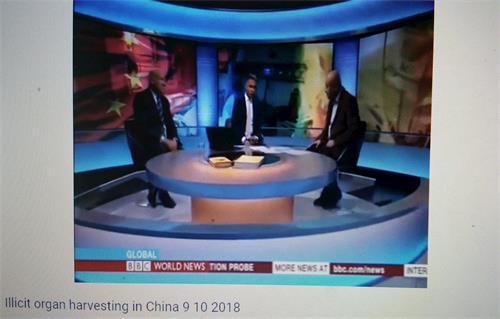 """'图3:二零一八年十月八日,BBC电视台""""全球(Global)""""栏目播放基于马修·希尔(MatthewHill)专门调查的节目""""中国器官移植产业调查(ChinaTransplantInvestigation),主持人现场采访伊森·葛特曼(EthanGutmann)和安华·托蒂(EnverTohti)'"""