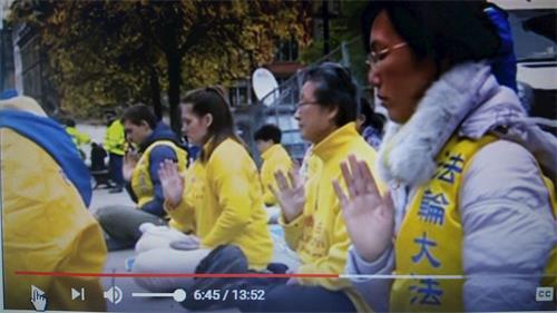"""'图10:BBC电视台""""影响(Impact)""""节目播出过程中出现的部份英国法轮功学员和平反迫害的场景'"""