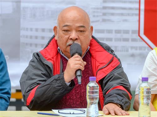 图6:香港前立法局议员曾健成批评中共对人民的迫害持续加剧,他强调法轮功学员的精神值得大家效法。
