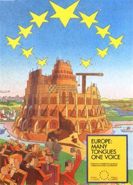 欧盟印的官方广告牌中有巴比伦通天塔(因人们反对而取消)