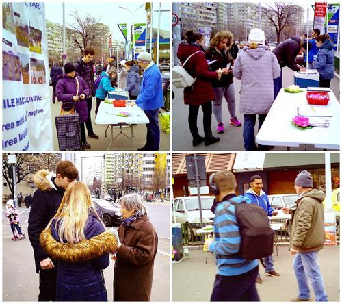 '图1~2:罗马尼亚法轮功学员大年初二在布加勒斯特市中心讲真相,征集签名,谴责中共迫害'