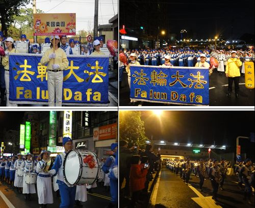 图:台湾天国乐团参加杨梅元宵节创意花车暨花灯踩街。