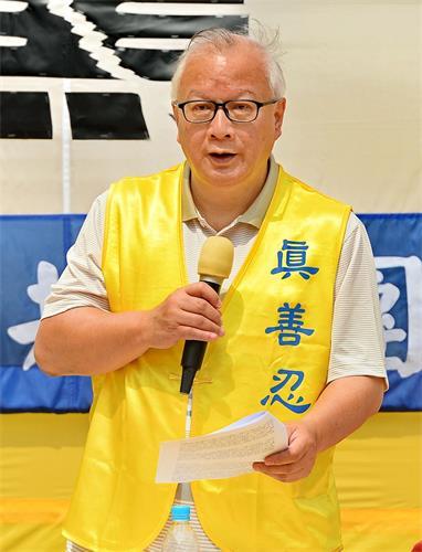 '图3:集会中,香港法轮佛学会发言人简鸿章强调,三退运动不是政治运动,而是呼吁每个人对善与恶、正与邪作出正确选择的精神觉醒运动。'