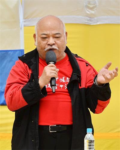 '图5:香港前立法局议员、民主救港力量召集人曾健成呼吁港人要认清中共的真面目,并强烈谴责中共耗巨额维稳费支持青关会侵扰法轮功。'