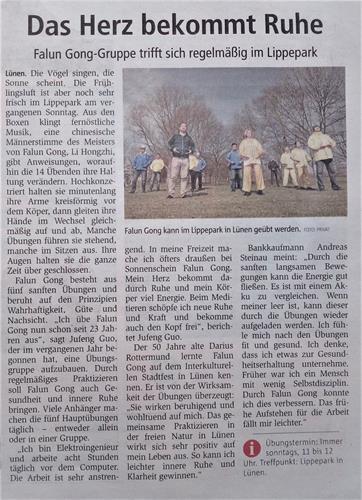 '图:三月三十一日,德国《周末信使报》报道法轮功学员在绿嫩市丽波公园集体炼功。'