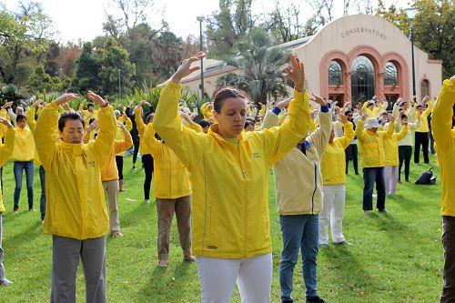 图1:索菲亚参加墨尔本法轮功学员的集体晨炼。