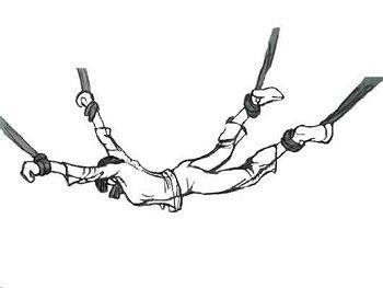 酷刑示意图:四肢上绳
