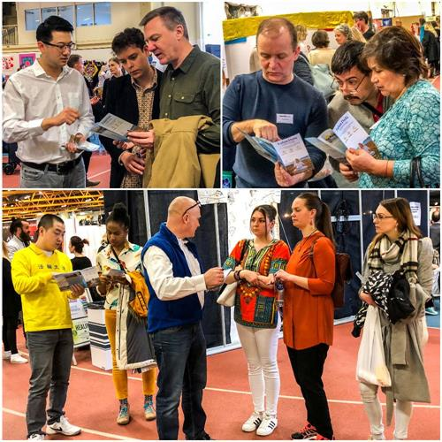 '图3:法轮功学员在健康展览会上向人们面对面介绍法轮功、讲述法轮功真相'