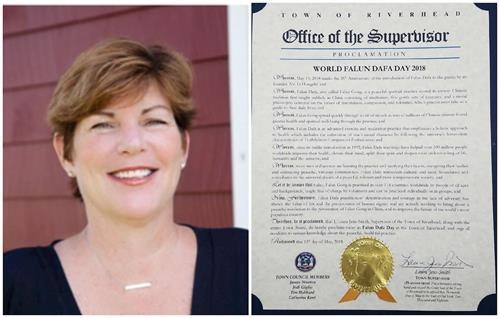 '图6:纽约长岛河源镇镇长(TownofRiverhead)劳拉•简-史密斯(LauraJens-Smith)颁发褒奖法轮大法。'