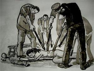 ''中共酷刑示意图:多根电棒电击''