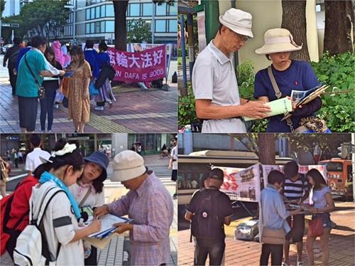 """'图3:很多民众在听了法轮功学员们讲的真相后,在声援举报江泽民的签名纸上认真地签下了自己的名字,并对法轮功学员们说:""""加油!""""'"""