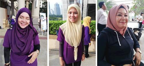 '图10:左起:Ajira、Nurul、Ayu女士开心的分享了她们首次学炼法轮功后,就感受到了健康得到改善的体会。'