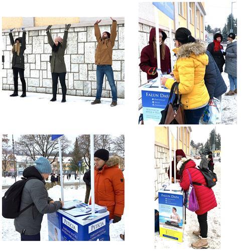 '图3:冰天雪地中,斯洛伐克法轮功学员在中部城市汗德罗瓦传播真相'