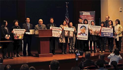 '图1:二零一九年三月四日,在美国国会举行的新闻发布会上,法轮功学员讲述遭受中共迫害的经历。'