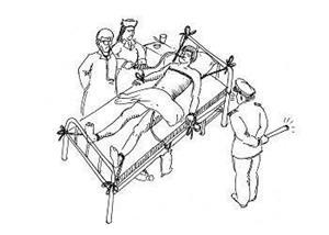 '中共酷刑示意图:绑在床上灌食'