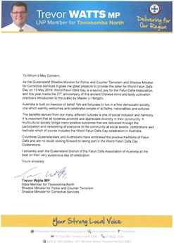 '图2:昆州图文巴北部(ToowoombaNorth)州议员特雷弗·瓦茨议员(TrevorWattsMP)给昆州法轮大法学会发来贺信'