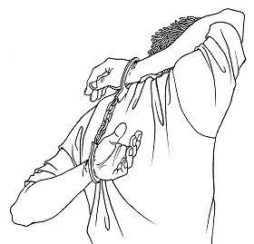 '酷刑示意图:背铐'