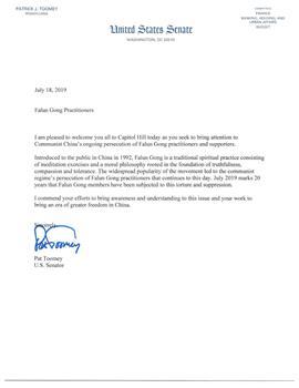 圖4:聯邦參議員派翠克‧圖米(Patrick J. Toomey)的支持信