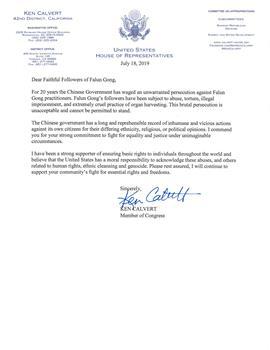 圖8:聯邦眾議員卡肯‧卡爾沃特(Ken Calvert)的支持信