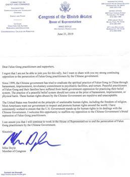 圖9:聯邦眾議員邁克‧多伊爾(Mike Doyle)的支持信