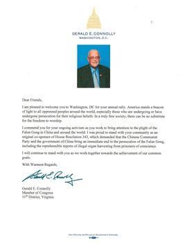 圖14:聯邦眾議員傑拉德‧康諾利(Gerald Connolly)的支持信