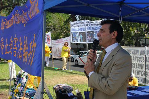 'Figura 7: el 20 de julio de 2019, el abogado de derechos humanos Carlos Iglesia habló en los 20 años de lucha contra la persecución de Falun Gong'