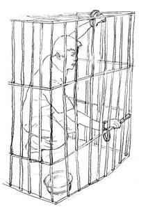 '酷刑示意图:关铁笼子'